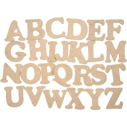 Wooden Letters, A-Z, H: 4cm, thickness 2.5mm, MDF, 26pcs (CC574461)