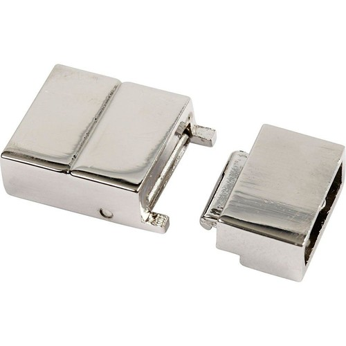 Click Clasp, Size 25x16x6mm, Hole Size 4x8mm, Silver-Plated, 1pc (CC60022)