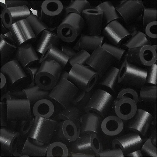 100 x Fuse Beads, Size 5x5mm, Hole Size 2.5mm, Black (1) Medium, 1 (CC751010)