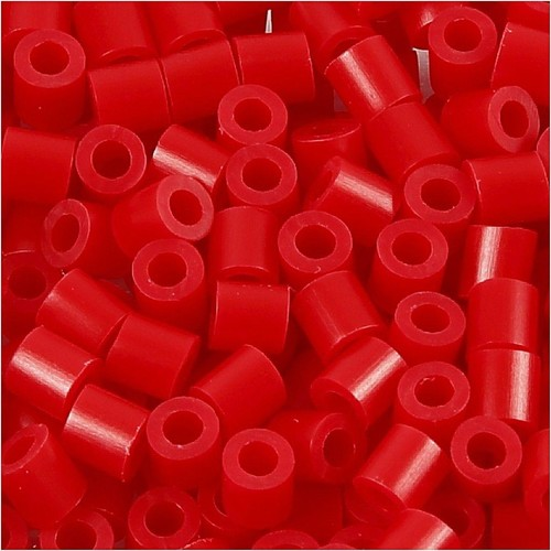100 x Fuse Beads, Size 5x5mm, Hole Size 2.5mm, Red (57) Medium, 1 (CC751310)