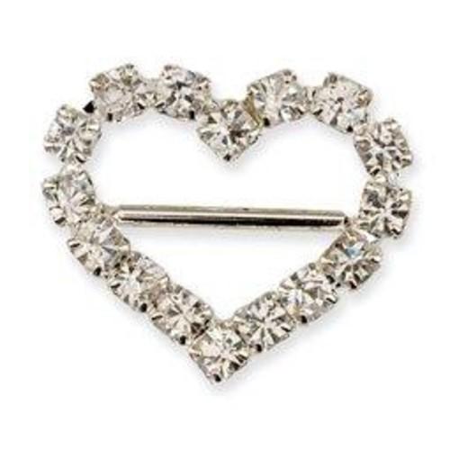 10 x Diamante Heart Ribbon Buckle 17mm (CCM356)