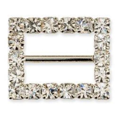 10 x Diamante Rectangle Ribbon Buckle (CCM358)