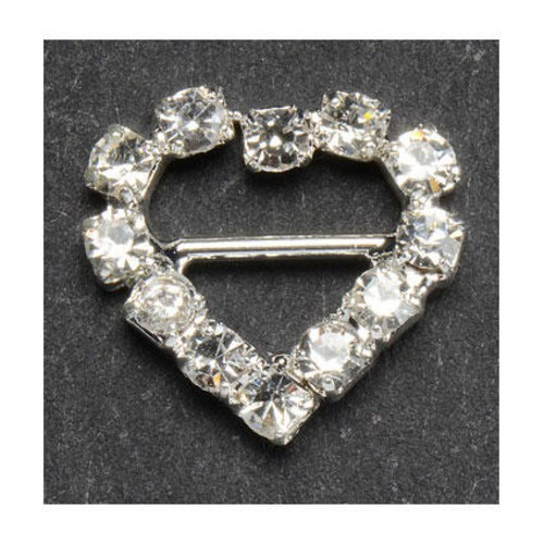 10 x 12mm Diamante Heart Buckle (CCM379)