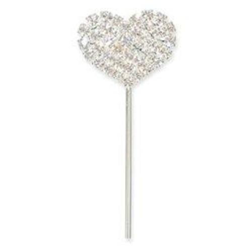 Diamante Heart On Silver Stem 21mm x 17mm (CCM382)
