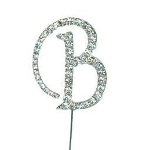 Diamante Letter 'B' On Stem 35mm x 45mm CCM388/B
