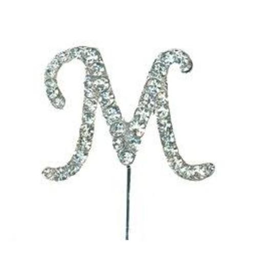 Diamante Letter 'M' On Stem 45mm x 35mm CCM388/M