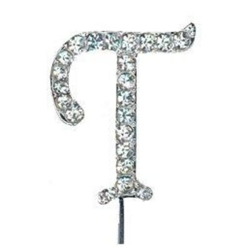 32mm Diamante Letter 'T' On Stem 37mm x CCM388/T