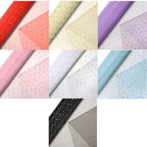 Organza Glitter Dot Snow Sheer (CGC67)(Pink/Silver)
