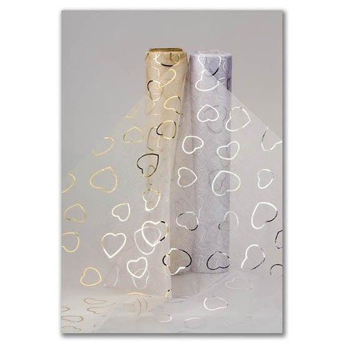 Organza Heart Snow Sheer (CGC68)(Ivory/Gold)