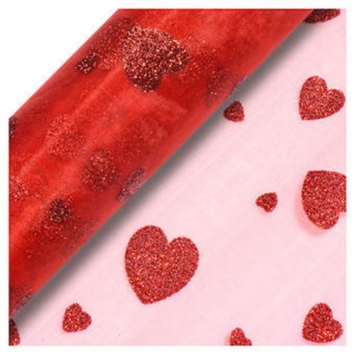 Red Glitter Heart Snow Sheer Organza 29cm x 10m (CGCV02)