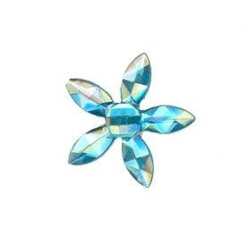 4 x Self Adhesive Crystal Flower 2(CGP12)(Turquoise)