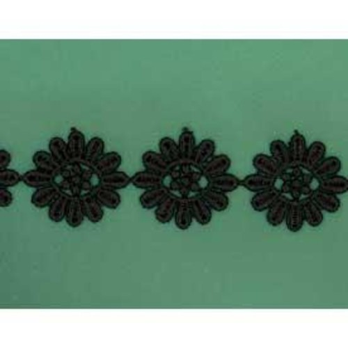 25mm x 27.4m Daisy Lace Black (DC131610)