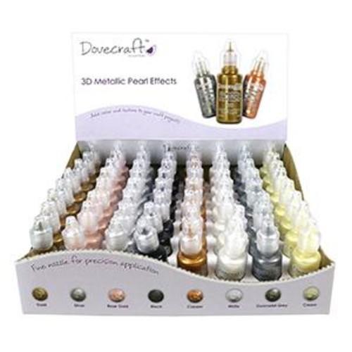 3D Pearl Effects Glue Display Box Metallics 64 Bottles x 20ml Dovecraft (DCBS168)