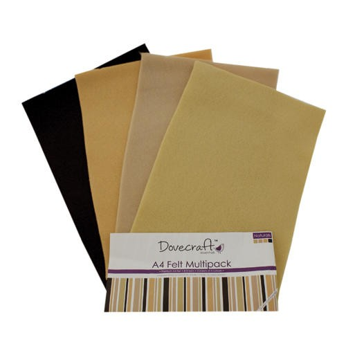 A4 Felt Sheets Multipack Naturals 8 Sheets Dovecraft (DCFL017)
