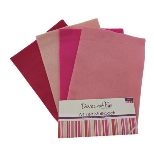 A4 Felt Sheets Multipack Pinks 8 Sheets Dovecraft (DCFL018)