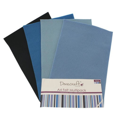 A4 Felt Sheets Multipack Blues 8 Sheets Dovecraft (DCFL019)