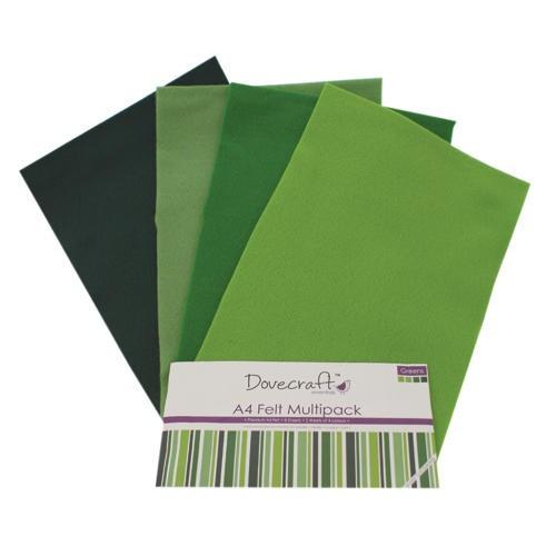 A4 Felt Sheets Multipack Greens 8 Sheets Dovecraft (DCFL020)