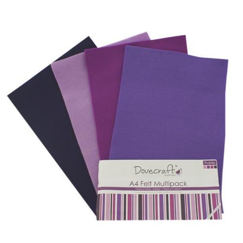 A4 Felt Sheets Multipack Purples 8 Sheets Dovecraft (DCFL021)