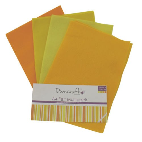 A4 Felt Sheets Multipack Yellows 8 Sheets Dovecraft (DCFL022)