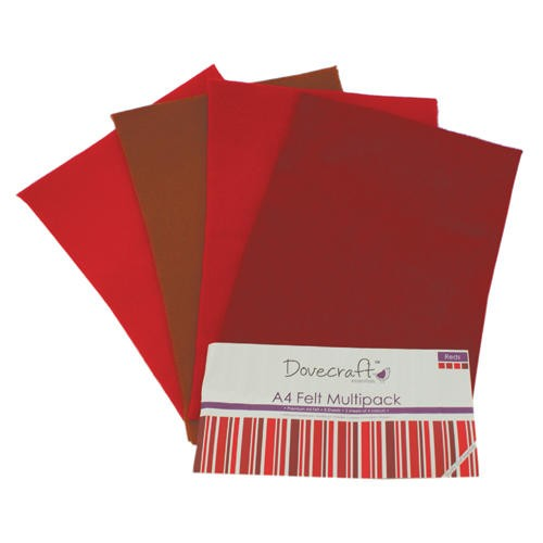 A4 Felt Sheets Multipack Reds 8 Sheets Dovecraft (DCFL024)