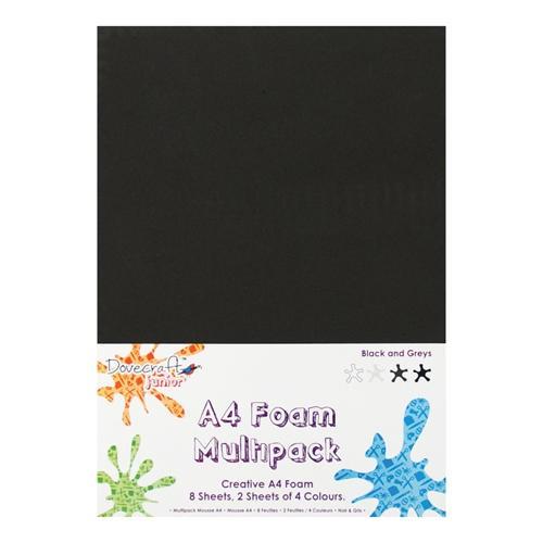 8 x A4 Foam Sheets x 4 Different Colours Blacks & Greys (DCFM001)