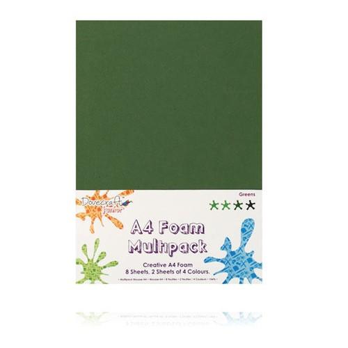 8 x A4 Foam Sheets x 4 Different Colours Greens (DCFM003)