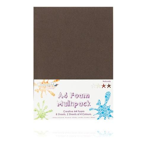 8 x A4 Foam Sheets x 4 Different Colours Naturals (DCFM004)
