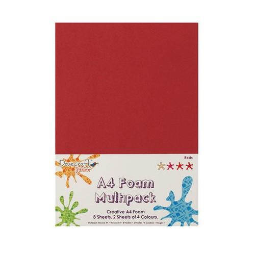 8 x A4 Foam Sheets x 4 Different Colours Reds (DCFM007)