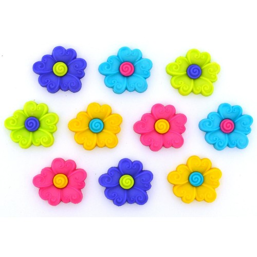 (DIU02242) - Dress It Up! Buttons - Swirl Centre Flower