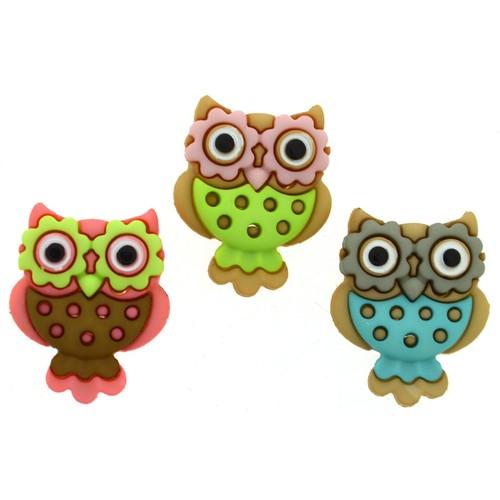 (DIU07673) - Dress It Up! Buttons - Retro Owls