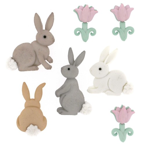 (DIU07705) - Dress It Up! Buttons - Cotton Tails