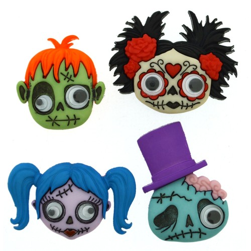 (DIU09488) - Dress It Up! Buttons - Zany Zombies