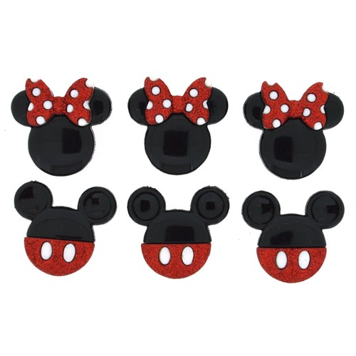 (DIUD07718) - Dress It Up! Disney Buttons - Mickey & Minnie Glitter