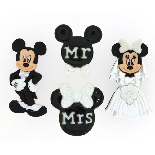 (DIUD08813) - Dress It Up! Disney Buttons - Mickey & Minnie Wedding