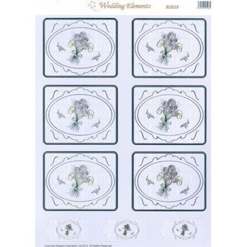 10 x Wedding Elements Toppers Bouquet (EL019)