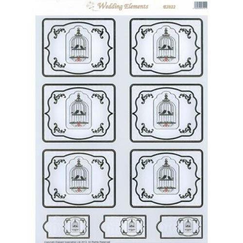 10 x Wedding Elements Toppers Bird Cage (EL022)