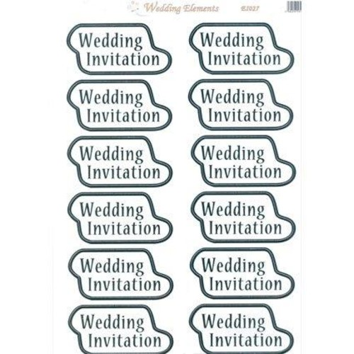 Wedding Elements Toppers Invitation Silver 10 Pack
