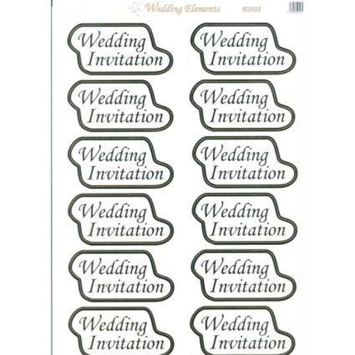 Wedding Elements Toppers Invitation Gold 10 Pack