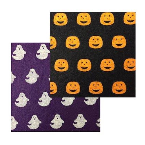Felt Squares 15cm x 10pcs Halloween Print (F6H)