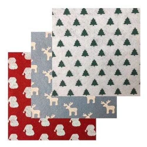 Felt Squares 15cm x 10pcs Christmas Print (F6X)