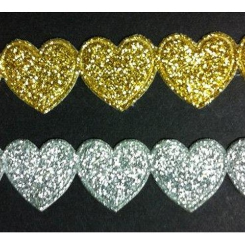 15mm x 25m Glitter Heart Trim FT/3242