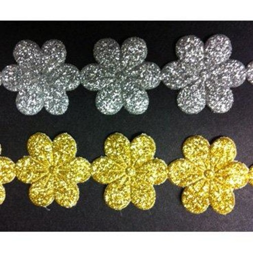 22mm x 25m Glitter Daisy Trim FT/3243