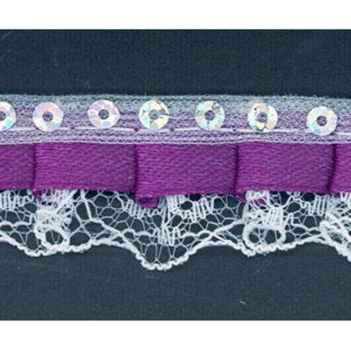 20mm x 27.4m Bonnet Lace (FT3208)(Purple)