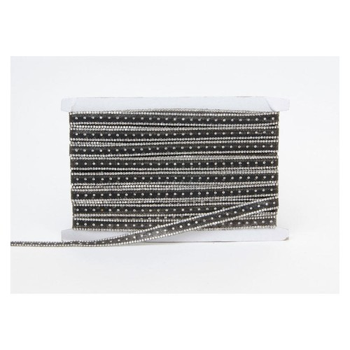 12mm Adhesive Hot Fix Beaded Trim Black x 10m (FTD1514BLK)