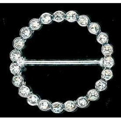 38mm Diamante Silver Buckle Round (G721)