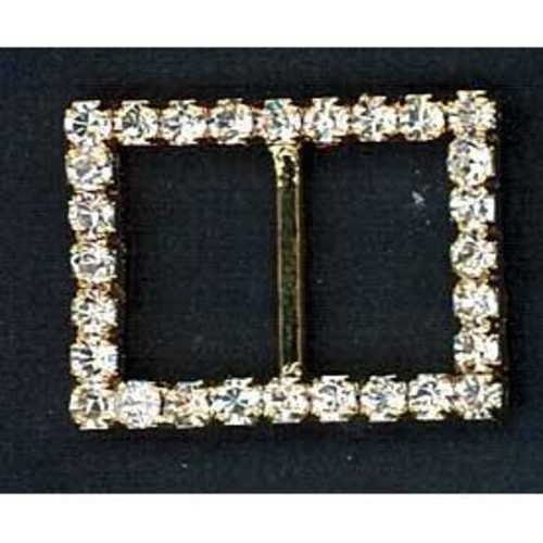 20mm Diamante Buckle Small Square (G902)(Silver)
