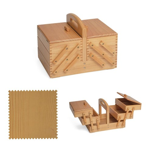 Wooden Cantilever Sewing Basket (d/w/h): 23 x 31 x 24cm (GB8450)