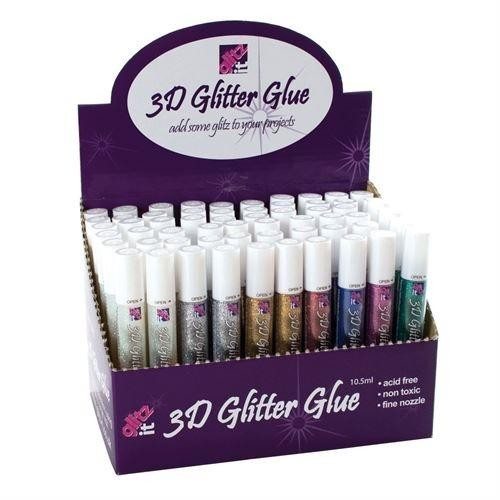 Glitz it 3D Glitter Glue Pen Dispenser (60pcs) - Assorted Colours (GLT4321000)