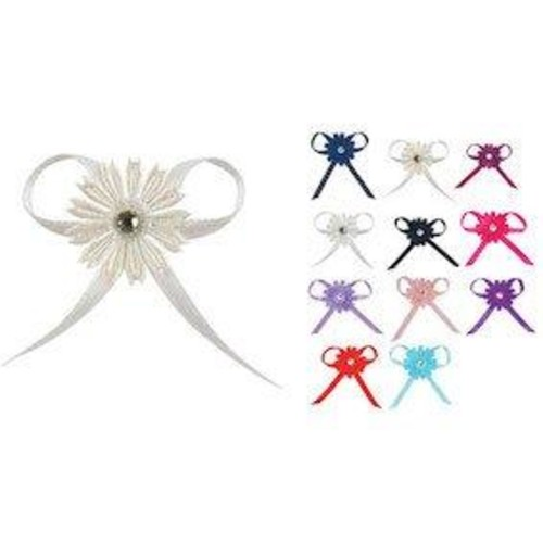 12 x Satin Ribbon Diamante Daisy Bow (H010)(Fuchsia)