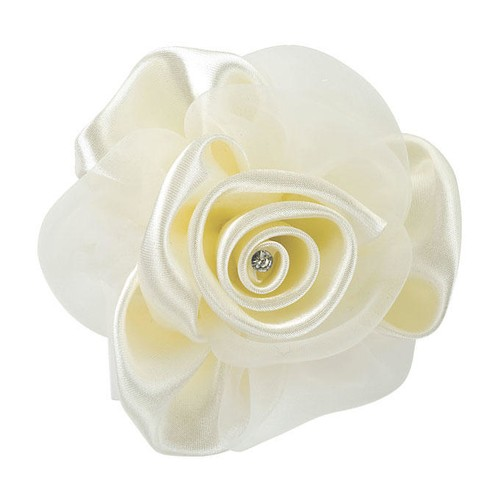 Large Satin/Organza Rose 10cm 3 Piece Pack (H012)(Black)